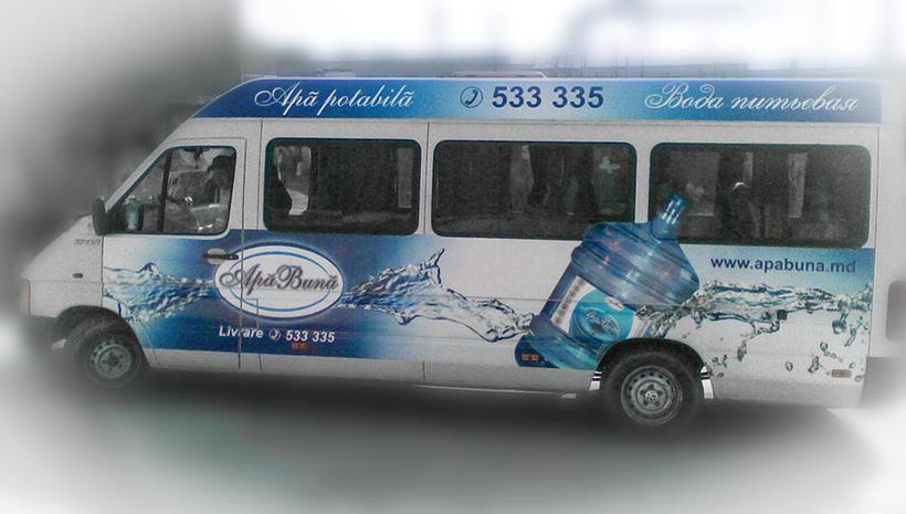 Реклама на маршрутном такси Apa buna