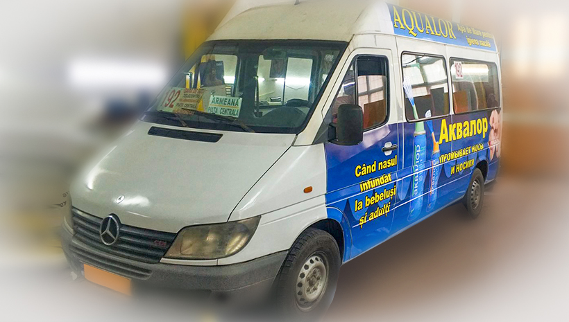Реклама на маршрутном такси Aqualor