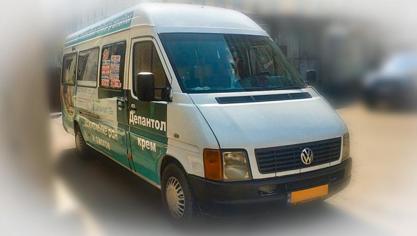 Реклама на маршрутном такси Depantol