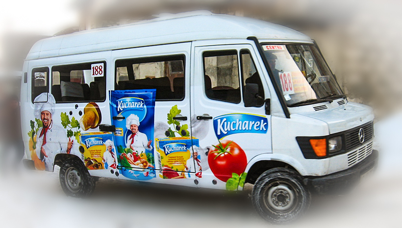 Реклама на маршрутном такси Kucharek
