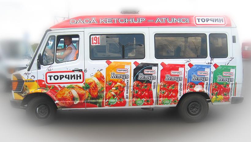 Реклама на маршрутном такси Торчин
