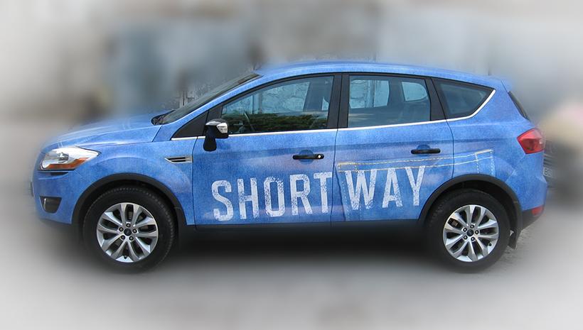 Реклама на машине Short Way