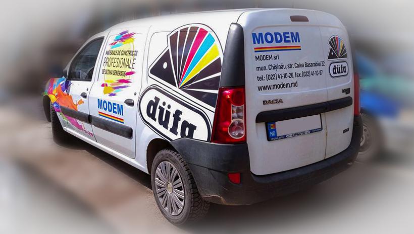 Реклама на машине Modem