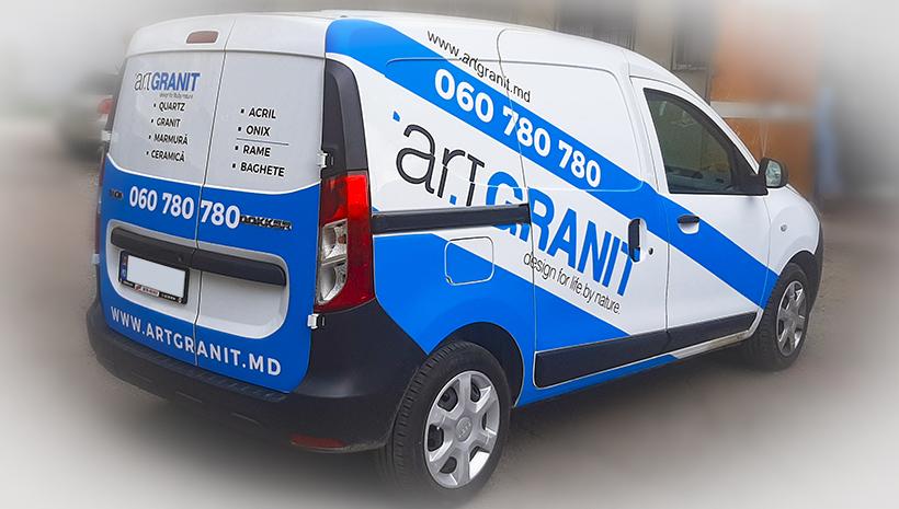 Реклама на машине Art Granit