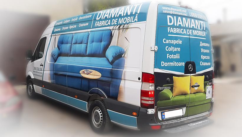 Реклама на машине Diamanti