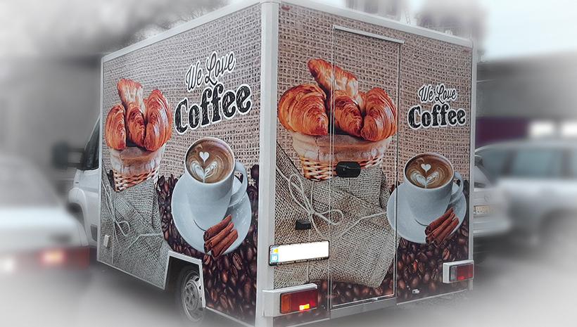 Реклама на машине Coffee